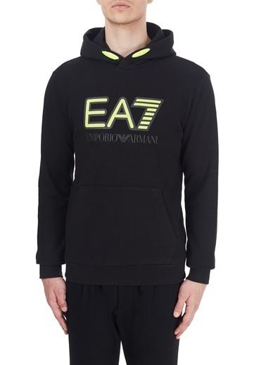EA7 Emporio Armani  Baskılı Kapüşonlu Kanguru Cepli Örme Sweat Erkek Sweat 6Hpm17 Pj07Z 1200 Siyah